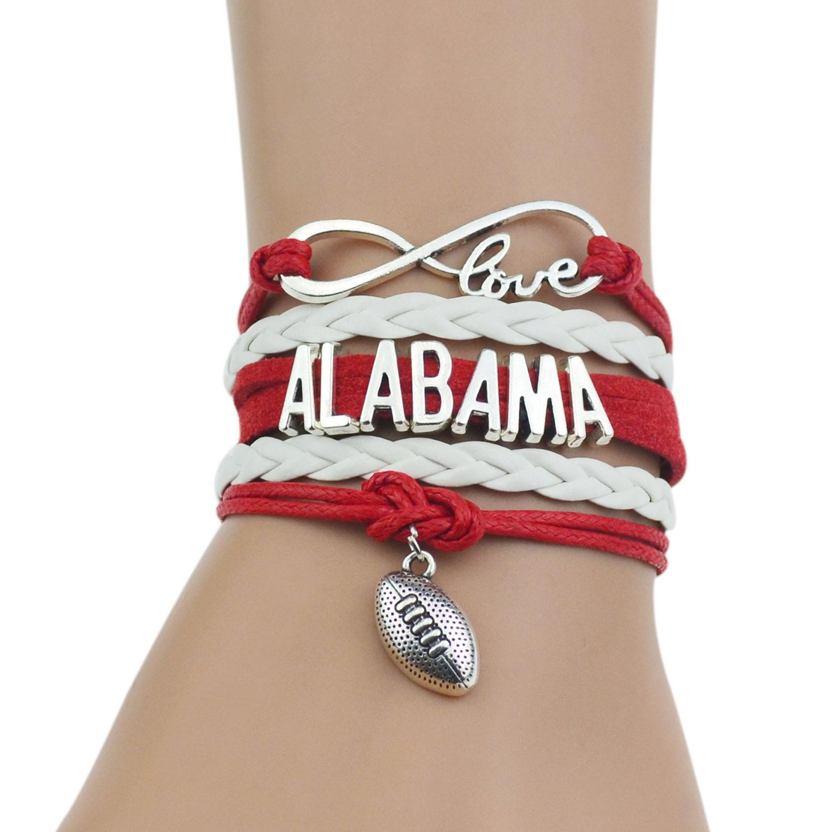 "Alabama Charm Bracelet: ""ALABAMA"" Red+White Multi Strands Infinity Silver Color"