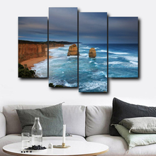 Laeacco Modern Wall Art 4 Panel Sea Posters and Prints Canvas Calligraphy Painting Nordic Home Living Room Decoration