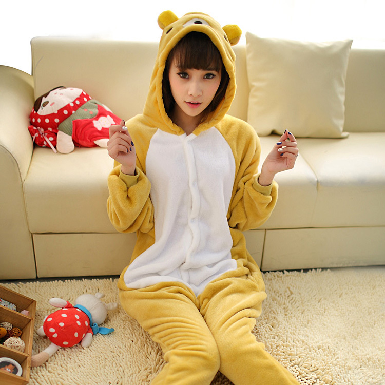 Halloween Adult Women Men Rilakkuma Onesies Furry fleece Relax Bear Cosplay Costume Animal Pajamas Pyjamas Jumpsuit Sleepwear
