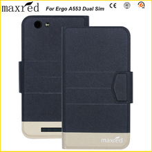 Original! Ergo A553 Dual Sim Case 5 Colors High Quality Flip Ultra-thin Luxury Leather Protective For