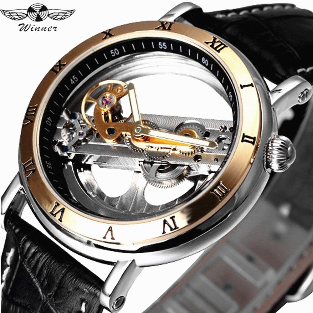 WINNER mode hommes automatique auto-vent mécanique montre en cuir véritable bracelet squelette lumineux montre-bracelet