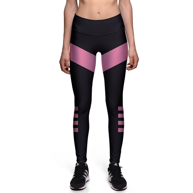 NEW 0059 Sexy Girl Black pink Stripes Energy Prints Slim High Waist Workout Fitness Women Leggings Pants Trousers Plus Size