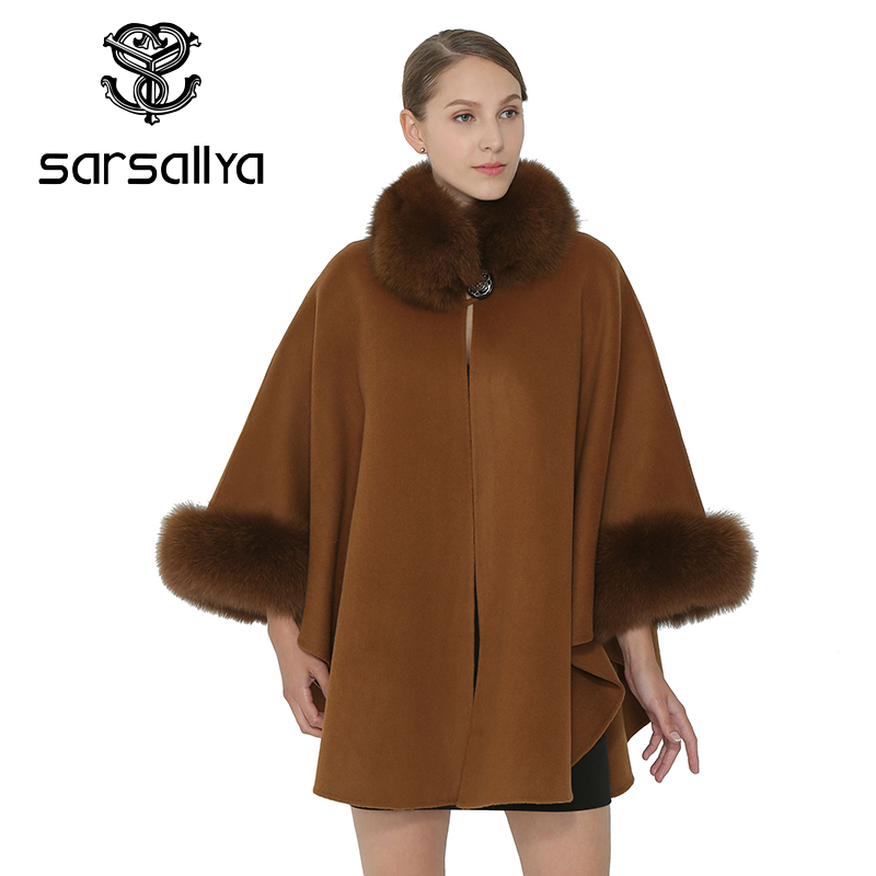 Renard Clair Gris Cape Élégant Femmes Fourrure Mode camel Châle Sarsallya Dames Manteau Chaud Col Manches De noir Hiver Flare CxzyyZFqwa