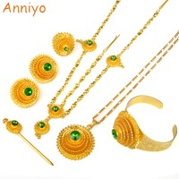 Ethiopian Gold Jewelry Set Gold Plated Green Stone With Hair Piece And Hair Pin For Women