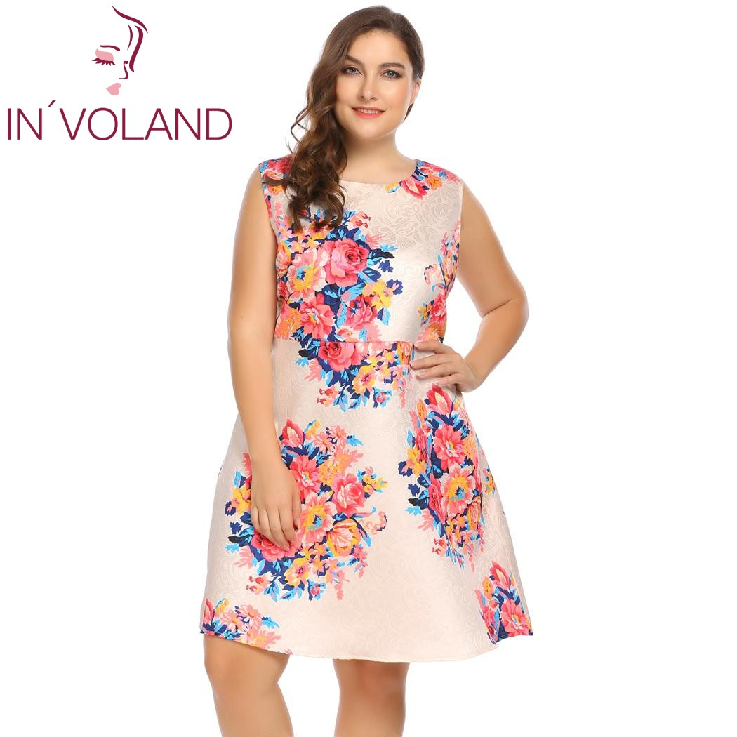 IN'VOLAND Women Floral Print Dress Oversized Sleeveless Casual Cocktail Party A-Line Dresses Feminino Vestidos Mujer Plus Size