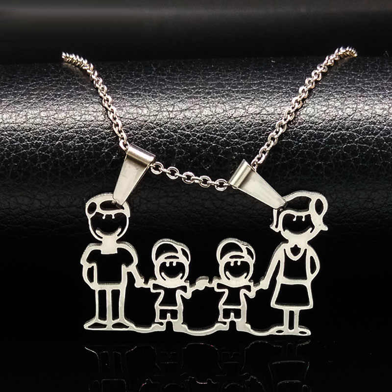 Stainless Steel Necklace Mama Family Necklaces Jewelry Silver Color Love Boy Girl Pendant Choker Necklace Women Gift N2201