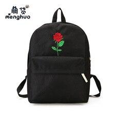 MENGHUO Fashion Women Backpack Women Rose Embroidery Backpacks for Teenagers Girls Female School Shoulder Bag Bagpack mochila