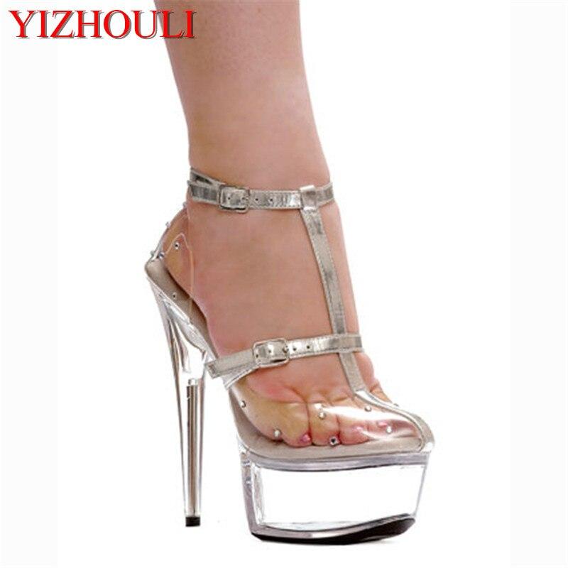 gran selección precio de fábrica ventas especiales € 38.84 33% de DESCUENTO|Muy popular con tacones altos de 15 cm, zapatos de  plataforma transparentes, botas sexis, modelo de escenario para zapatos de  ...