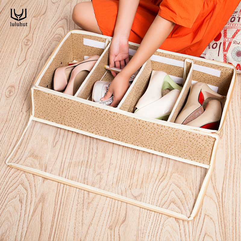 Luluhut Transpa Shoe Box Non Woven Stackable Foldable Organizer Home Storage Organization For Shoes Boot Dust