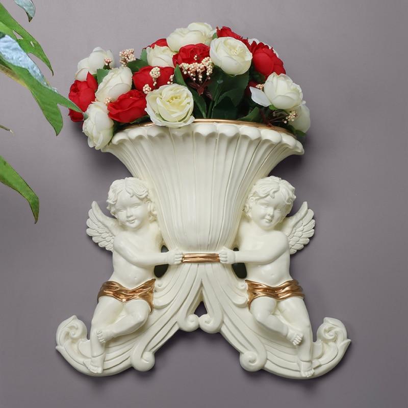 Moderne maison mur résine Double ange Vase décoration murale artisanat salon Simple fond Mural suspendus fleur Badket Mural - 2
