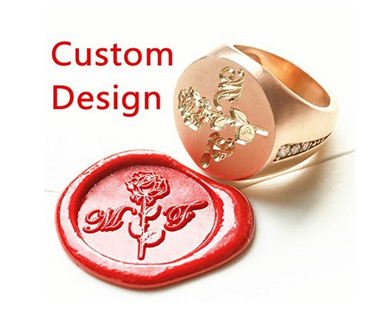 New Custom Made Personalized Gold Picture Logo Initials Name&Date Engraved Wedding Invitation Ring Wax Seal Stamp Ring