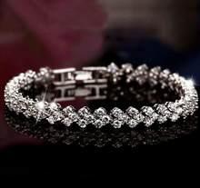 ANENJERY-pulsera de plata de ley 925 de lujo para mujer, brazalete de corazón de circonita de cristal completo deslumbrante, S-B28