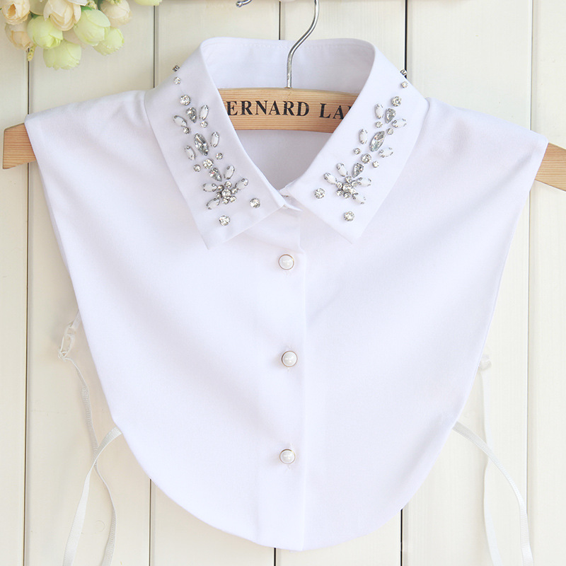 Chiffon Nail Water Drill Collar Shirt Fake Detachable Collar Bowtie Women Choker Removable Beaded Cols Dickey Slim