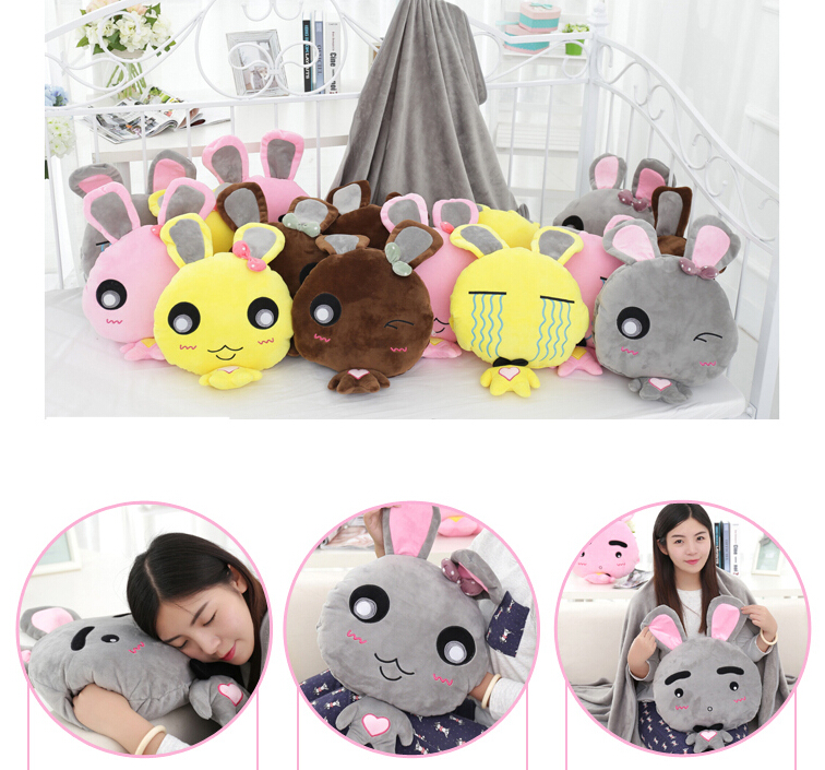 ФОТО Plush doll 1pc 50cm funny face rabbit bunny warm rest office cushion + blanket high quality stuffed toy romantic gift for baby