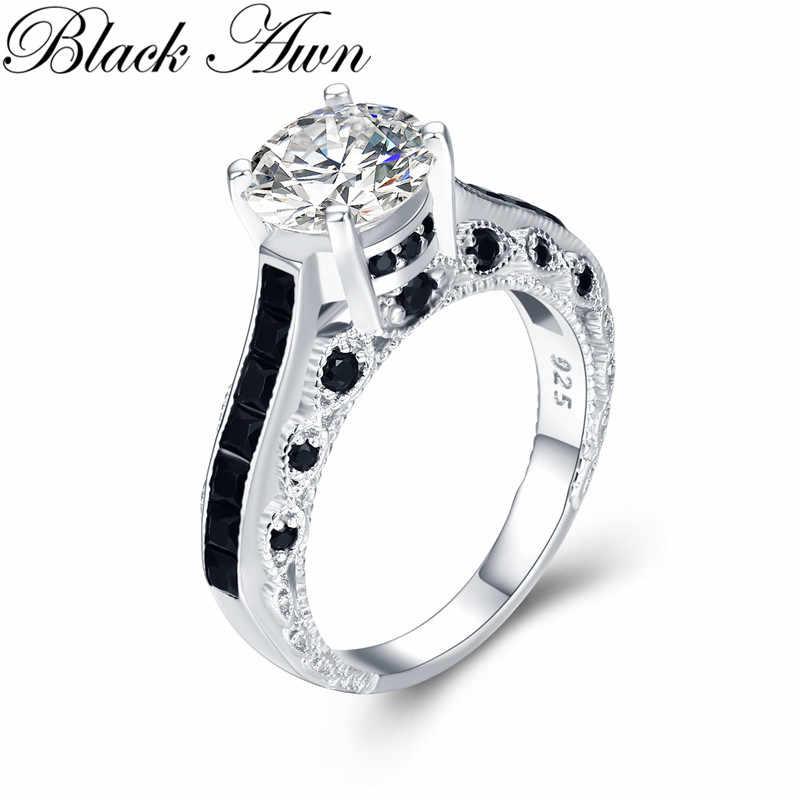 หรูหรา 5.6g 925 เงินสเตอร์ลิงเครื่องประดับอินเทรนด์หมั้น Bague สีดำ Spinel Leaf สตรีงานแต่งงานแหวน Bijoux Femme g015