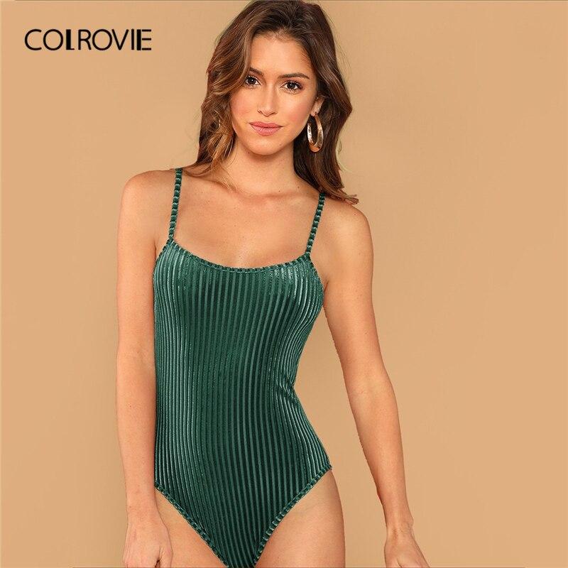 Aufrichtig Colrovie Grün Solide Samt Cami Dünne Sexy Stricken Body Frauen 2019 Mode Sleeveless Elegante Casual Party Damen Bodys