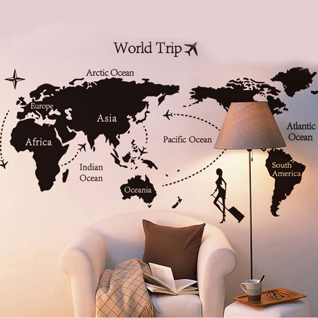 New world trip travel map wall stickers art vinyl decal home decor new world trip travel map wall stickers art vinyl decal home decor wallpaper mural creative living gumiabroncs Image collections