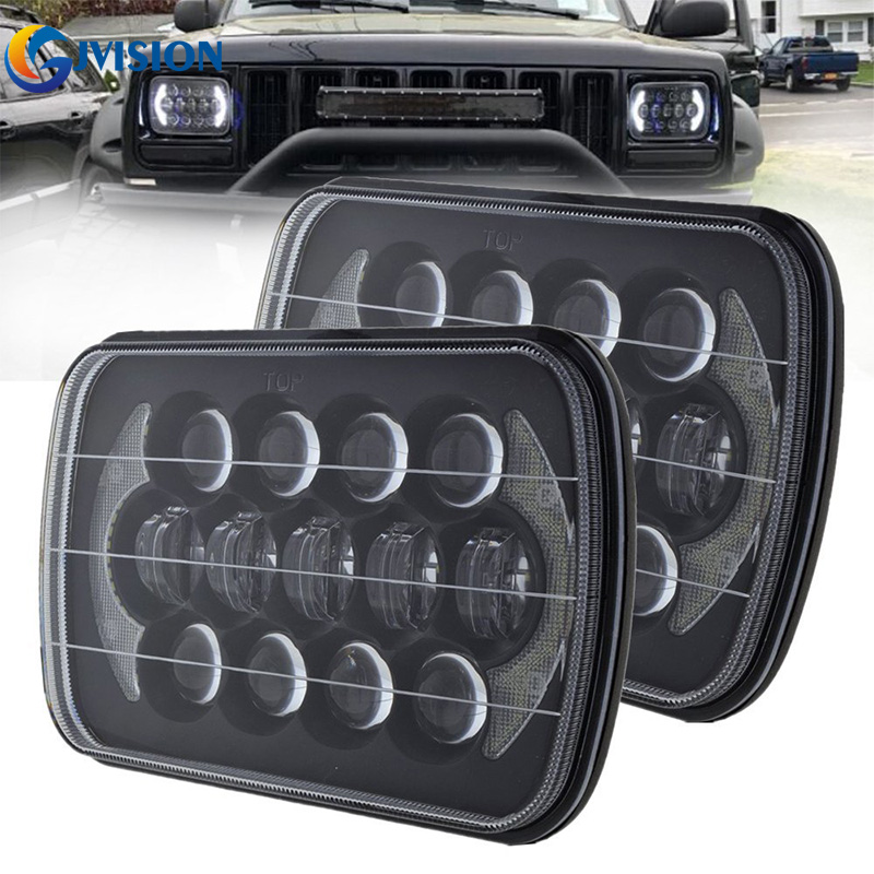 5x7'' inch 85W Auto headlamp DRL 5X7 LED Headlight for truck FLD 50 60 70 80 H4 LED Replacement Sealed Beam hireno headlamp for mercedes benz w163 ml320 ml280 ml350 ml430 headlight assembly led drl angel lens double beam hid xenon 2pcs