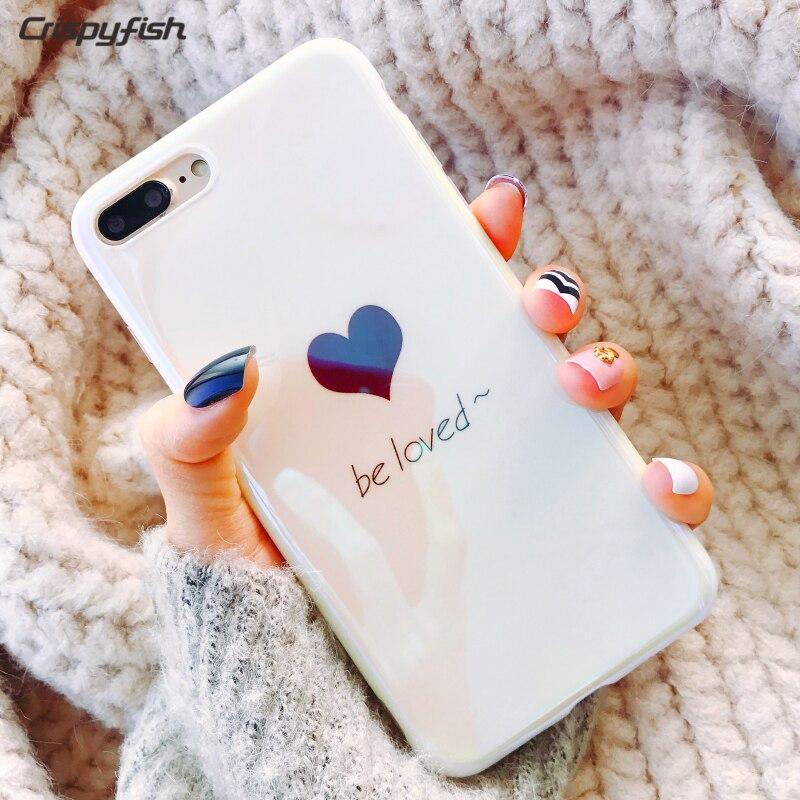 Crispyfish Blu-Ray Blanc Amour coeur Téléphone Cas Pour iphone 7 7 plus Tpu Silicone Cas Pour iPhone 6 6 s plus X Quatrième De Couverture