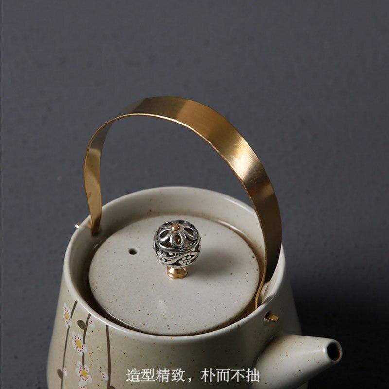 Fleurs de cerisier japonais kungfu thé cérémonie ensemble fait à la main poterie brute théière un pot deux tasses palette cadeau boîte teaware - 3