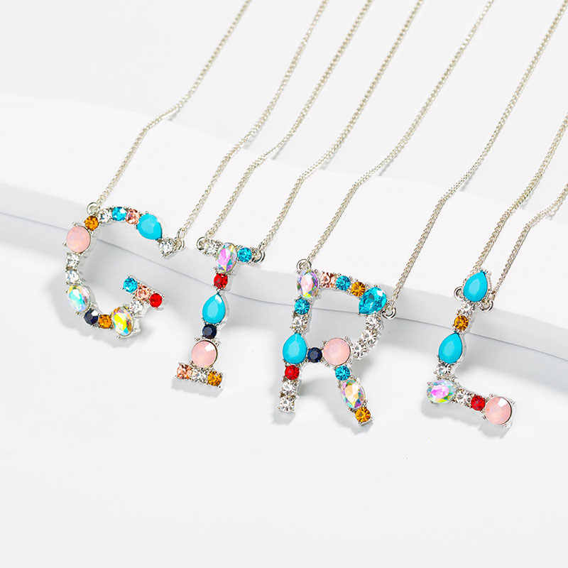 26 Initial Letters Necklace Micro Pave Rainbow CZ Zircon Alphabet Pendant Silver Necklace Women's Fashion Jewelry Dropshipping