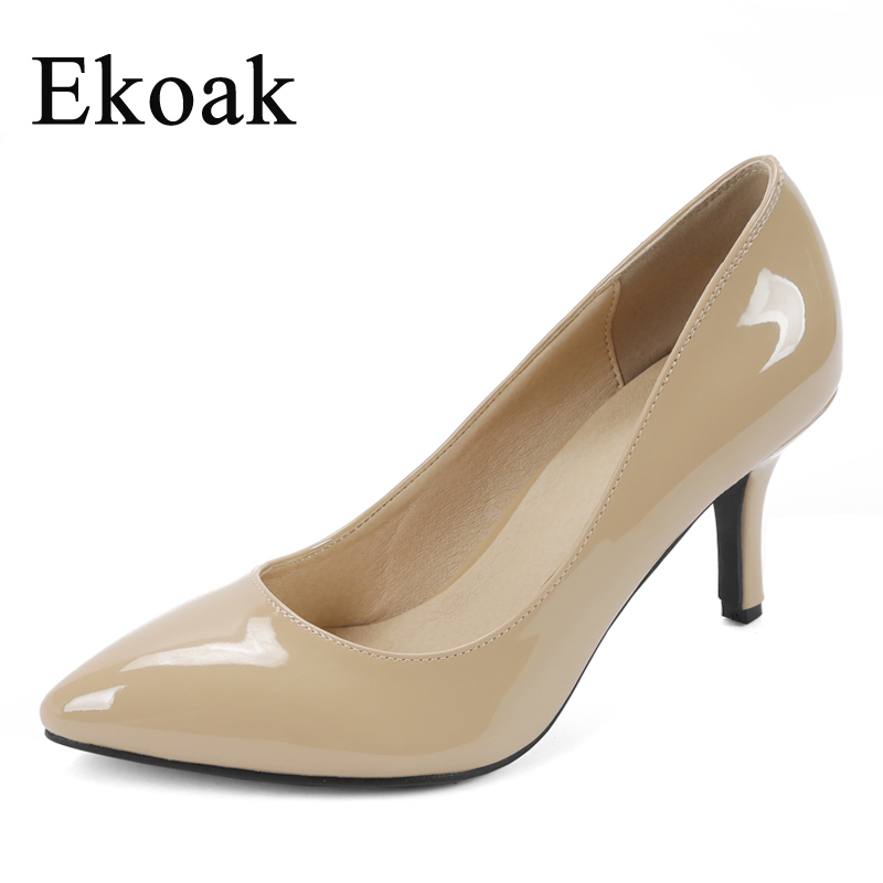 Ekoak New 2017 women Patent leather high heels Sexy pointed toe OL Genuine Leather women pumps Fashion Sheepskin shoes woman facndinll new black patent genuine leather pointed toe rhinestone sexy high heels lace up women pumps ladies party casual shoes