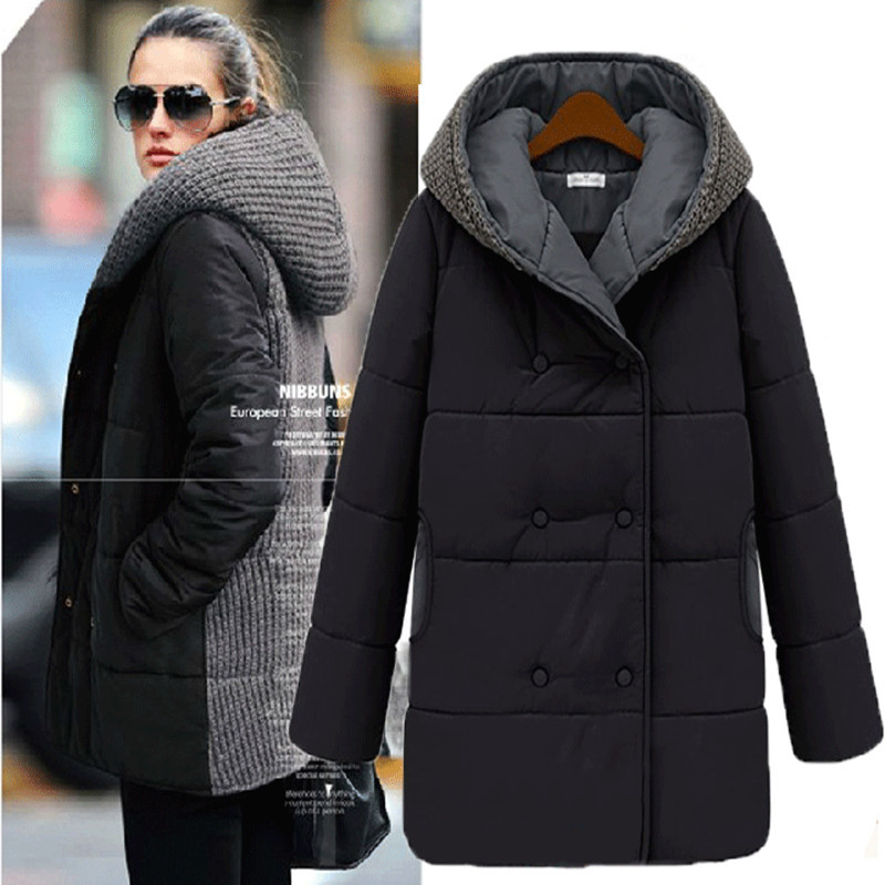 New women coat 2015 winter fashion plus size slim knitting wool cotton coat for women large