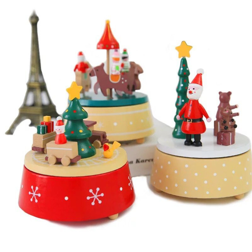 new 1pieces/lot carousel wood train music box Christmas decoration toy Christmas products window decoration kids toys
