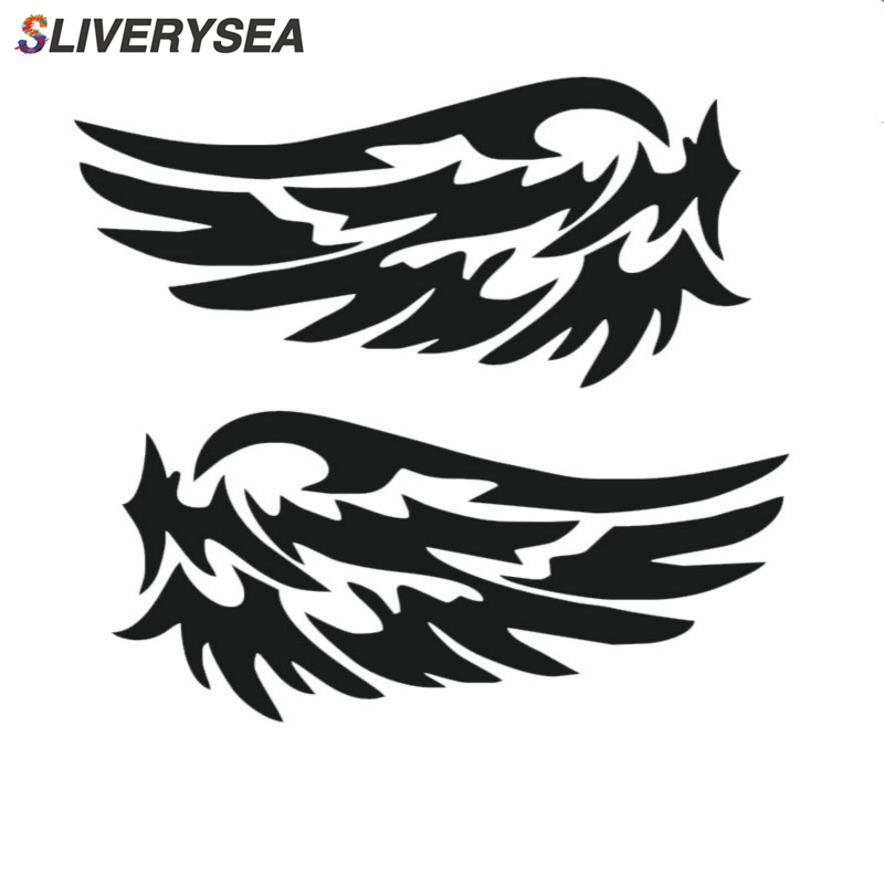 SLIVERYSEA 1Pair Angel Wing Car Stickers Auto Motorcycle Rearview Mirrow Styling Sticker Decals Truck Decoration