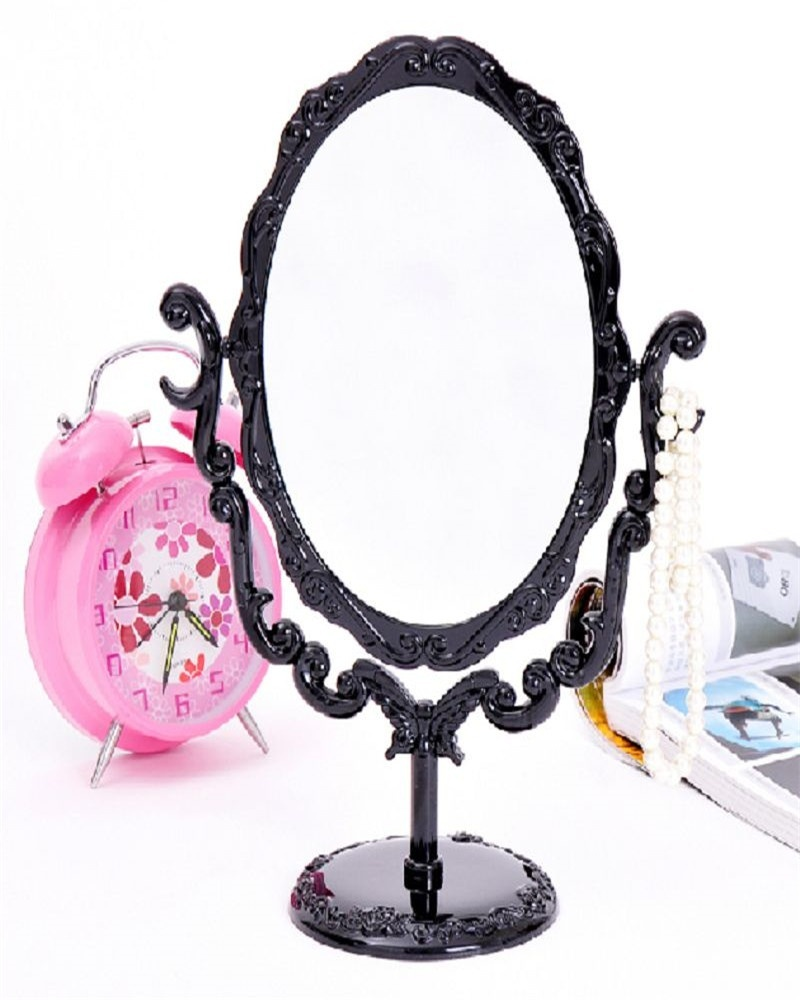 New Black Vintage Royal Makeup Mirror Desktop Rotatable Gothic Mirror with Butterfly Rose and Vines Decoration Cosmetic Tool