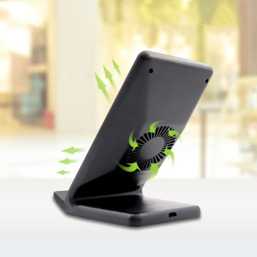 Double Coils Qi Wireless Fast Charger Quick Wireless Charging Adapter Stand Rack With Cooling Fan For iPhone 8 X Samsung S8