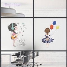 Custom window film Music Glass Sticker stained giraffe Privacy Static Cling Self-adhesive office guitar girl decorative films