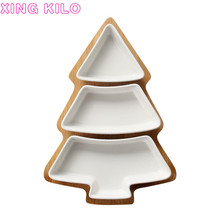 Nordic creative bamboo Christmas tree fruit plate household cutlery tray ceramic dessert salad snack