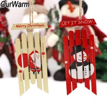 OurWarm 2Pcs Christmas Tree Hanging Pendant Ornament Santa Claus Snowman Pattern Wooden Sled New Year Gift Home Decor navidad ef6600 mz360 185f crank case assembly for yamaha generator