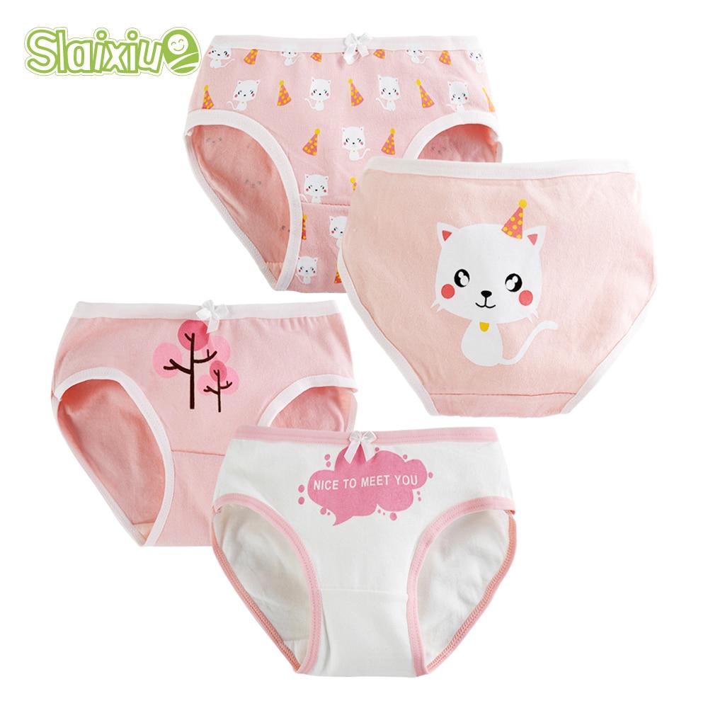 SLAIXIU 4-PCS Girls underwear Cartoon Animal Design Kids   Panties   for Girls Briefs Soft Cotton Children   Panty   S-XXL Size