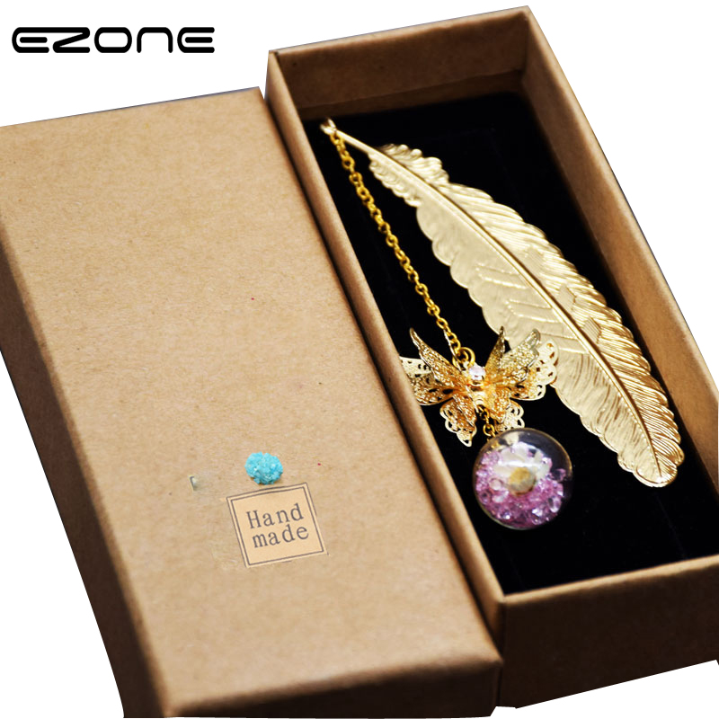 EZONE 1PC Metal Bookmark With Butterfly Crystal Ball Pendant Gift Box Bookmark Creative Gift For Friends Stationery Fashion New