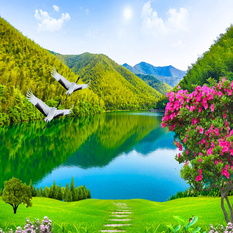 US $8.9 47% OFFCustom 3D Photo Wallpaper HD Forest Mountain Lake Natural  Landscape Large Wall Painting Living Room Background Mural Wallpaper-in