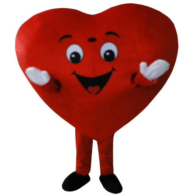 cosplay costumes Red Heart of Adult Mascot Costume Adult Size Fancy Heart Mascot Costume free shipping
