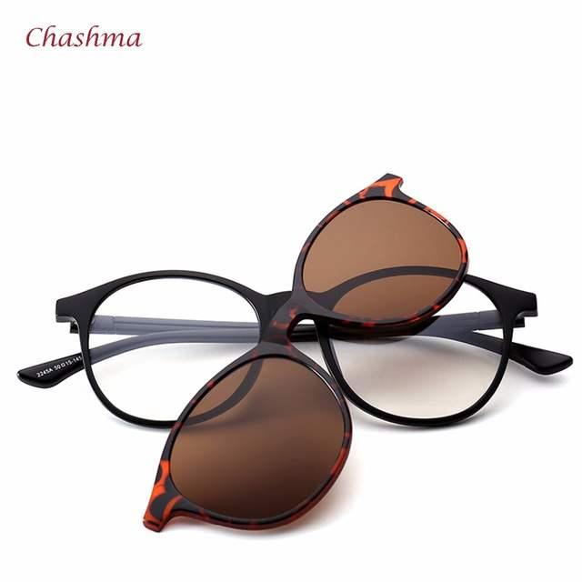 ccdba19150 Chashma Brand 5 Clips Sunglasses Male Round Glasses Frame Polarized Sun  Glasses Frames Vintage Frame Eyeglasses