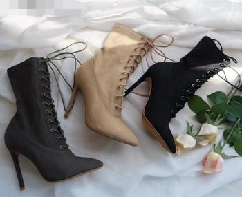 Fashion Design Woman Sexy Mid-Calf Boots High Heel Women Lace Up Ankle Boots High Quality Pointed Toe High Heel Woman Boots