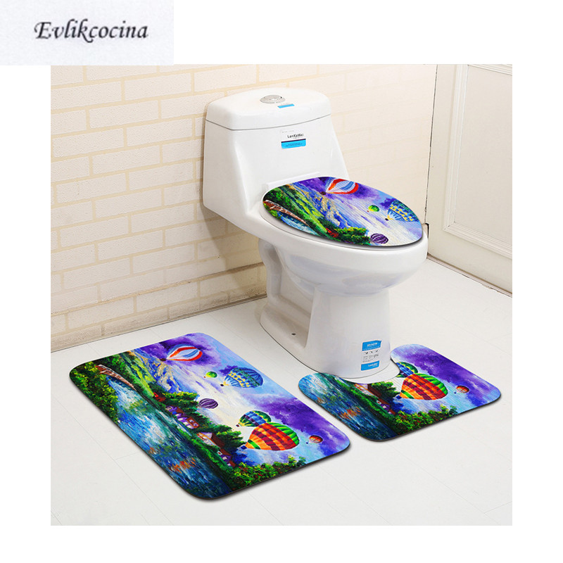 Free Shipping 3pcs Colored Hot Air Balloons Banyo Bathroom Carpet Toilet Bath Mat Set Non Slip Tapis Salle De Bain Alfombra Bano