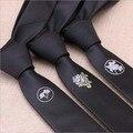 5 СМ Мужская Мода Дизи черные галстуки Цветок логотип случайные личности тощие Галстуки тонкий партия свадебные галстуки