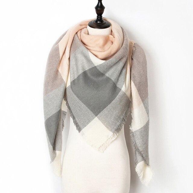 2018 Winter Scarf Women Cashmere Plaid Pashmina Scarf Luxury Brand Blanket Wraps Female Scarves and Shawls 140*140*210cm 1