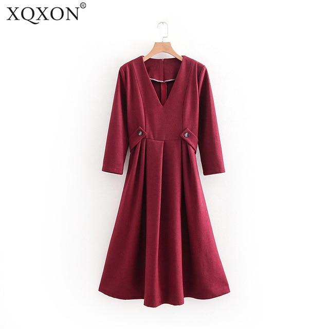8525232715b5 Fall Women Solid Color A-line Midi Burgundy Dress Female Soft Feel V-neck  Long Sleeve Button Waistband Slim Flowy Winter Dress
