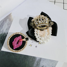 Korea Handmade Alloy Rhinestone Lips Lipstick Badge Brooches Pins Fashion Jewelry For Girl Woman Accessories-SWGWBH070F
