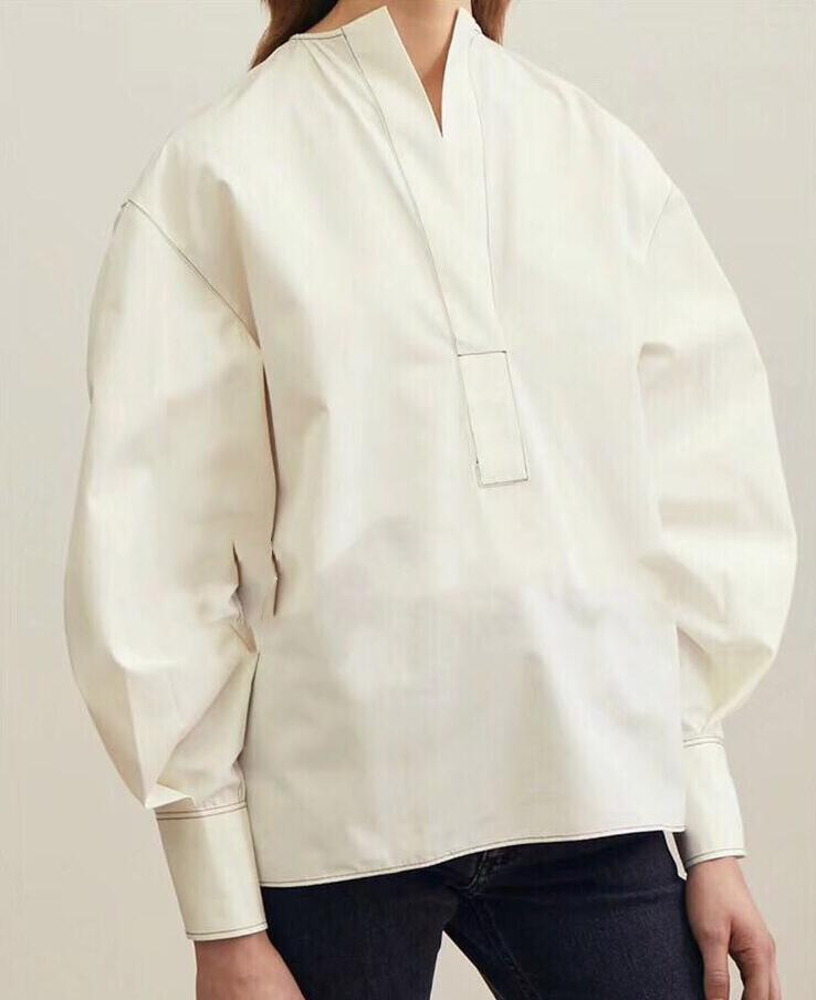 White Arras Blouse Cotton V neck Drop Shoulder visible Top stitch Long Sleeves Buttoned Cuff Fashion