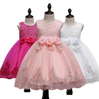 Baby Flower Girls Dress Lace Sequins Princess Formal Party Wedding Dress For Girl Toddler Children Birthday