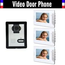 1 Camera 3 Monitor 7 Inch Monitor Video Door Phone Intercom Doorbell System IR Night Vision Camera Video Interphone kit
