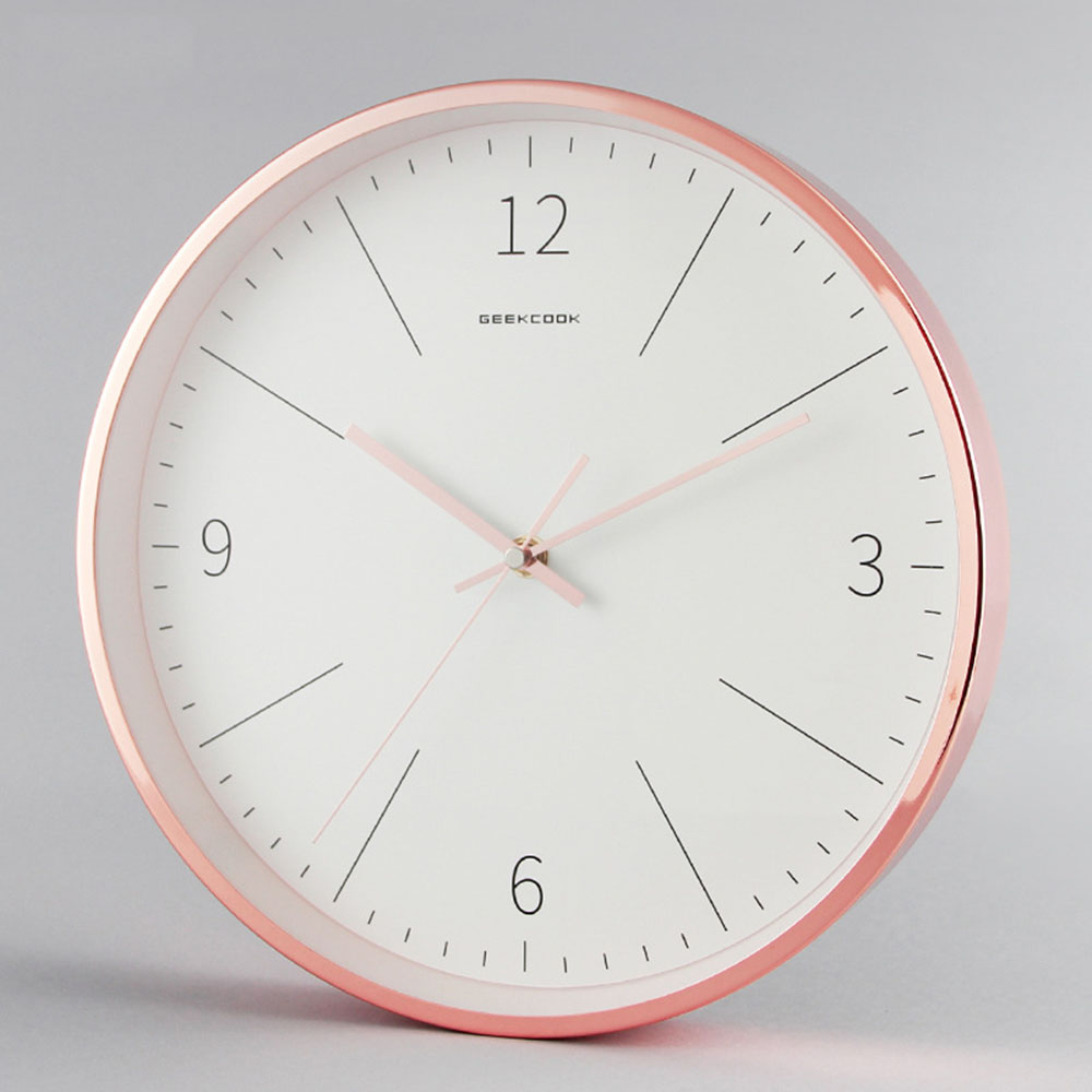 12 Inch Modern Minimalist High Gloss Electroplated Round Metal Wall Clock Bedroom Mute Clock Rose Gold Metal Home Decor