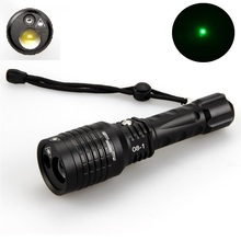 Hunting flashlight 2 in 1 Rechargeable LTS LED+Green Laser Multi-Function Zoomable FlashLight Torch